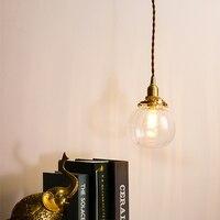EL Pumpkin shape Vintage Glass Brass Pendant Lamp Bedroom Livingroom Indoor Lighting