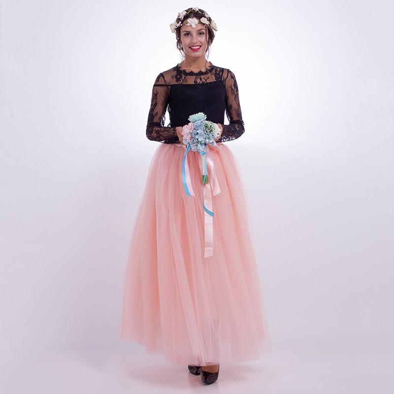 7 couches 100 CM taille haute plissée maille Tulle jupe longues jupes femmes d'été fête de mariage Tutu jupe femmes longue jupe falda