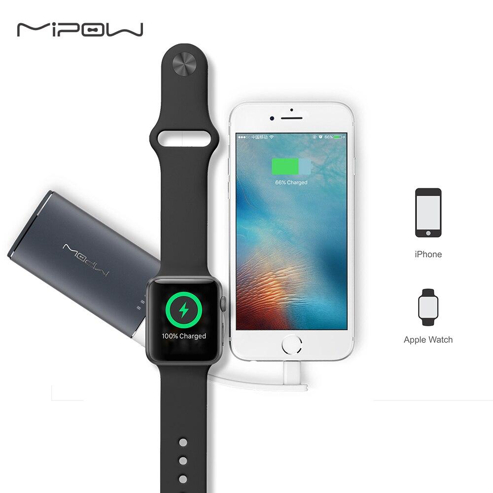 MIPOW MFi Zertifiziert Tragbare Magnetic Charging Dock Halter Stehen Ladegerät für Apple Uhr Builtin USB Kabel iPhone 7/8 Power Bank