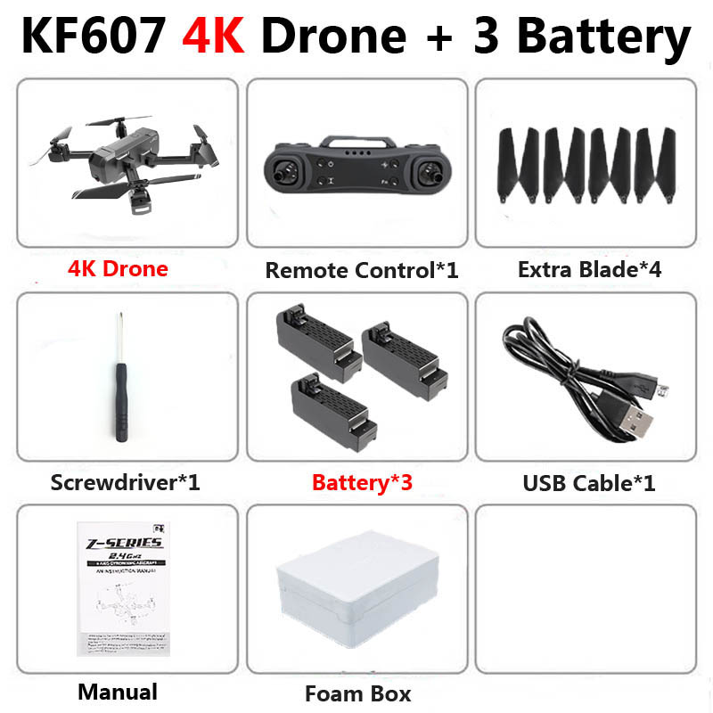 KF607 Profissional Mini Foldable Drone with Dual Camera 1080P 4K HD WiFi FPV Optical Flow RC Quadcopter Helicopter Toys VS SG106