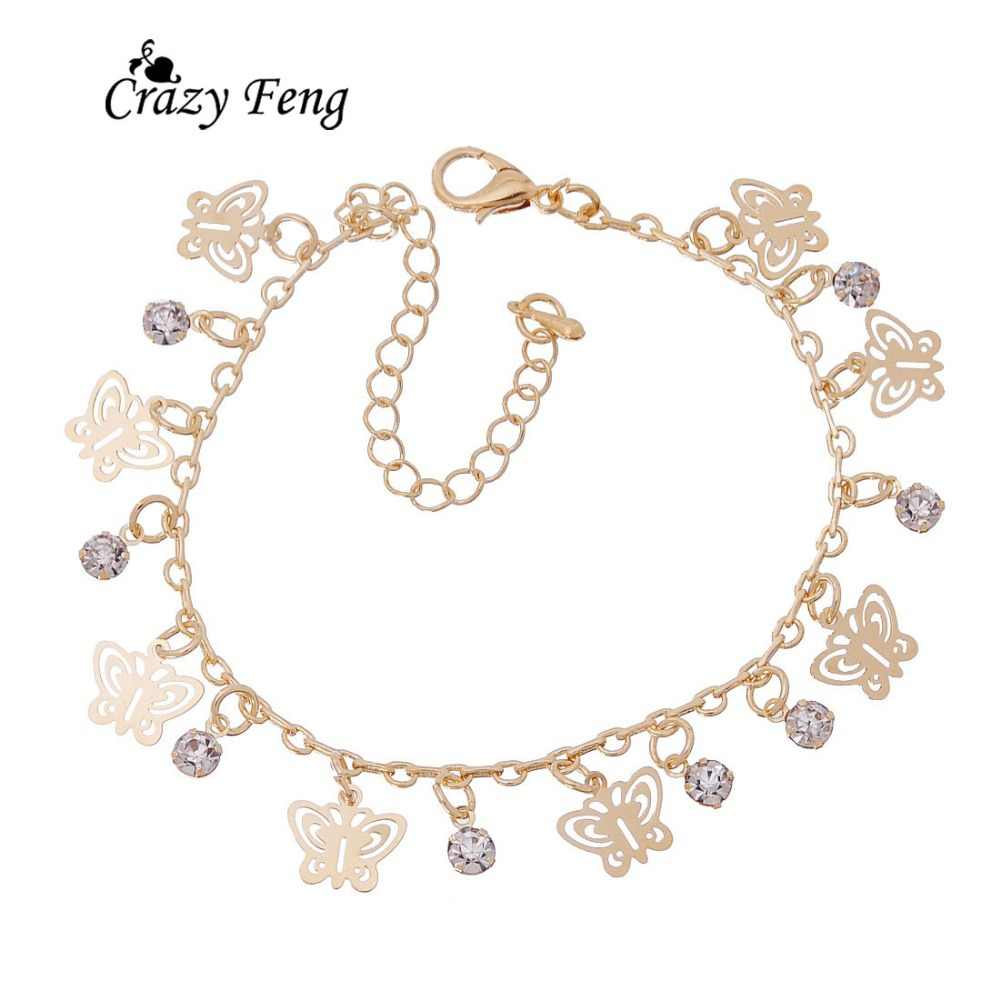 Fashion Unique Butterfly Gold-color Bracelets & Bangles pulseira Chain Crystal Jewelry Bracelets For Women Anniversary Gift