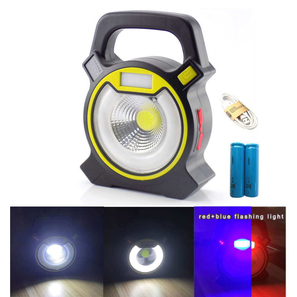 Led cob portable spotlight floodlight lantern searchlight rechargeable handheld high power cordless power with 2x 18650 battery high power portable spotlight lantern searchlight rechargeable waterproof hunting spotlight built in battery