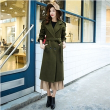 Woman Cashmere Palto Army Green Overcoat Winter Military Long Warm Wool Jacket Army Green Collar Button Korean Cloak Woolen Coat
