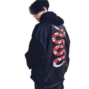 Image 5 - Mannano jaqueta bordada, casaco de beisebol bordado de cobra, para outono 2018, hip hop, streetwear bordado, para casais