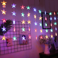 Thrisdar 2.5M 10X5LED Full Star Icicle Christmas LED String Light Romantic Star Curtain Fairy String Light Party Wedding Light