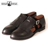 Британские мужские Ленточки круглый носок сандалии для подиума на устойчивом каблуке из натуральной кожи с пряжкой обувь Бизнес человек Ра