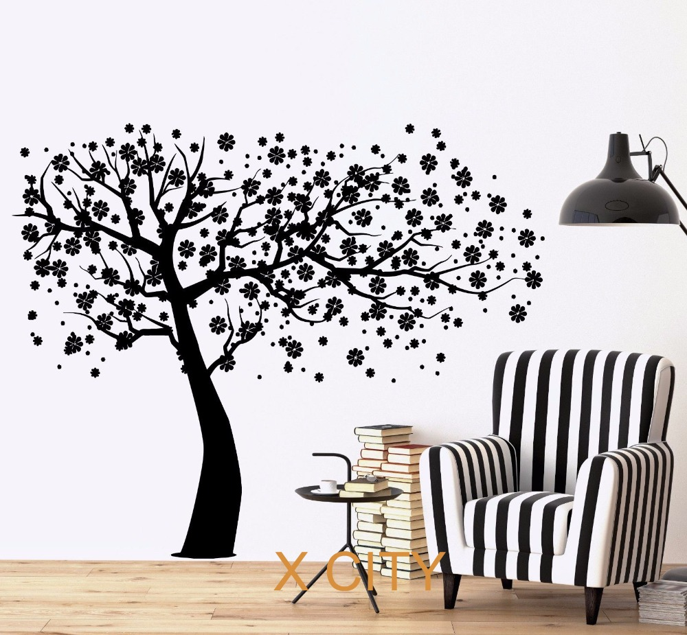Cherry tree flower wall decal sticker removable vinyl for Stencil parete