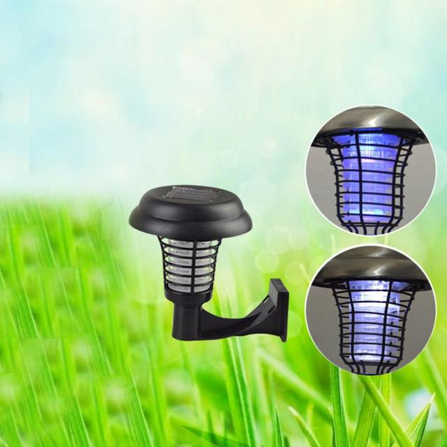 Fashion UV LED Solar Powered Outdoor Mosquito Insect Pest Bug Killer Outdoors ABS Solar Light Black