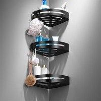 Космические алюминиевые полки для ванной комнаты Черные Аксессуары для душевой кабины полка стойка для шампуней корзина для ванной держат...