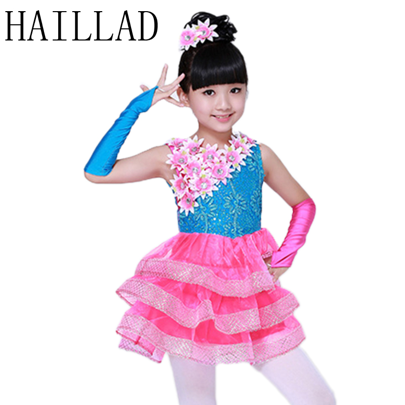 Girls Dress 2017 The New Kids Ballroom Dresses Dance Costumes for Kids Sequin Jazz Dance Performing Floral Dress 2016 sale new knee length kids kids dresses for girls free shipping2013 fashion dance dressperformance wear costumes th3004c