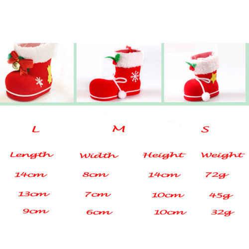 Zapatos de Navidad, bolsas de regalo de caramelo con decoración navideña, botas de árbol de Navidad colgantes, bolsa de regalo roja