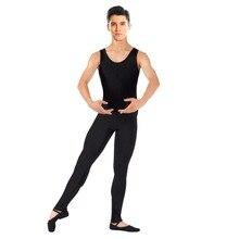 Speerise Men One Piece Black Tank Unitard Lycra Ballet Sleeveless Full Body Tight Jumpsuit Unitards Dance Costumes Bodysuit