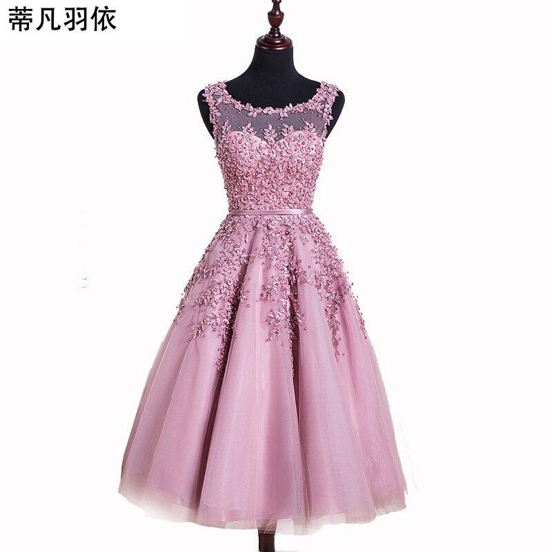 En stock polvo moldeado rosado Encaje Appliques corto Vestidos de ...