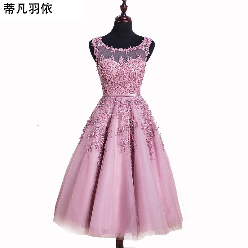 In Stock Dust Pink Beaded Lace Appliques Short Prom Dresses 2018 vestido de festa Medium Length Party gala dress Evening Dress