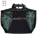 S-6XL Green Floral Brocade Sleeveles Vest Bolero Women Jacket with Leather Collar Gothic Clothing Steampunk Corsets Accessories