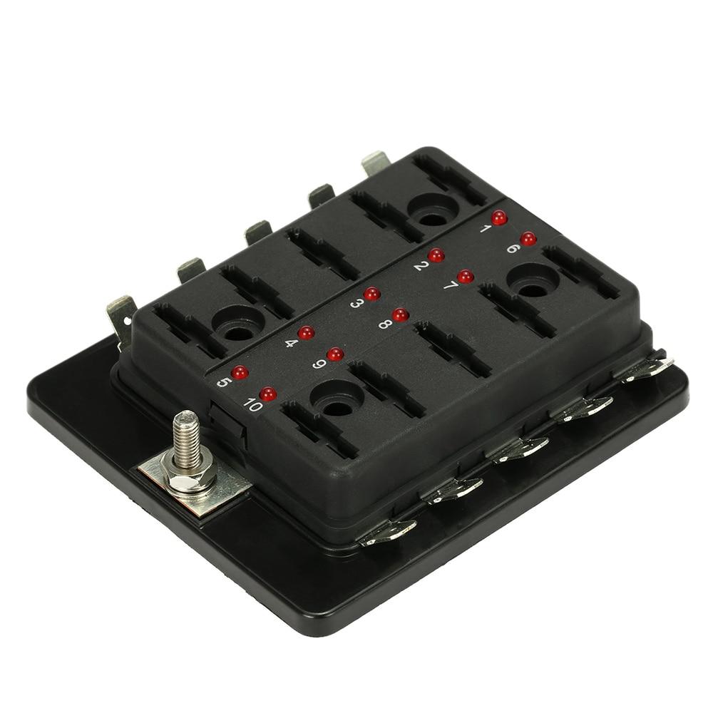 hight resolution of car fuse box 10 way blade fuse box holder with led warning light kit