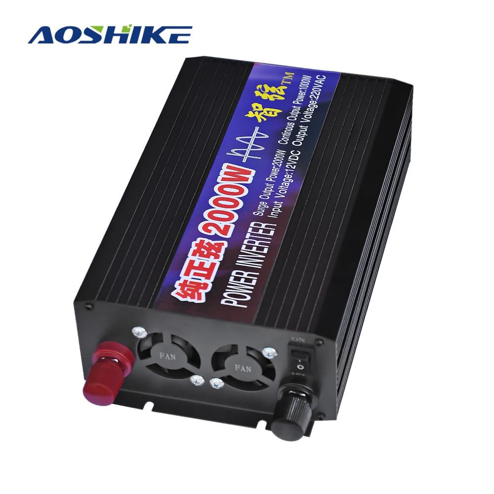 AOSHIKE Household Pure Sine Wave Car Inverter 12V 24V 48V 220V 2000W Power Conversion Booster Dual