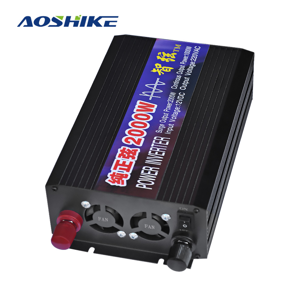 AOSHIKE Casa Pure Sine Wave Car Inverter 12V 24V 48V 220V 2000W Conversão de Energia Impulsionador display Digital duplo USB Interruptor