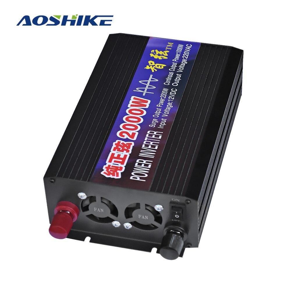 AOSHIKE Ménage Pur Onde sinusoïdale Inverseur De Voiture 12 v 24 v 48 v 220 v 2000 w Conversion de Puissance Booster double Affichage Numérique USB Commutateur