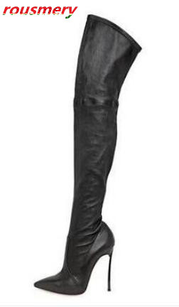 цены The Hottest 2017 Suede Leather Slim Stiletto High Heels Woman Over-the-knee Boots Pointed Toe Zipper Woman Celebrity Long Boots
