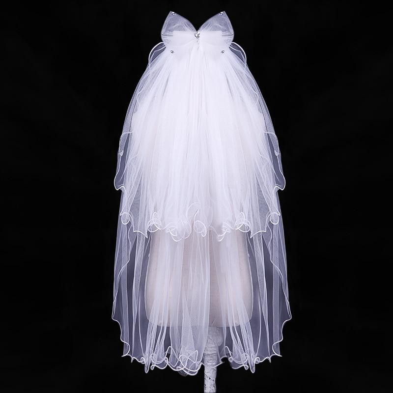 ACRDDK White/Ivory Wedding Veil Multi Layer Bowknot Veils With Combs Handmade Bead Long Bridal Veils Girl Wedding Accessories SL