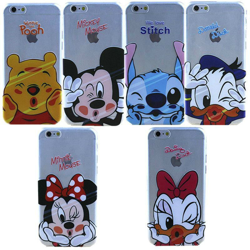 Ultra Thin Slim Phone Case For iphone 5 5s 5se 6 6s 7 7 plus Soft Silicone TPU Clear Transparent 7Cute Cartoon Character Print