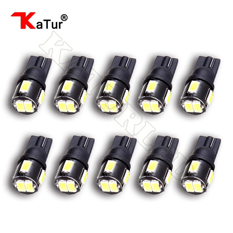 10 Pieces T10 W5W 194 Led Bulbs 5630 6-smd 6000K White Clearance Lights Reading Dome lamp Car Interior Lighting Automobile Led
