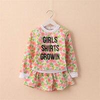 2015 Autumn New Styles Girls Koran Version Floral Pint Long Sleeve Sweatshirts Fashion Shirts Casual Sets