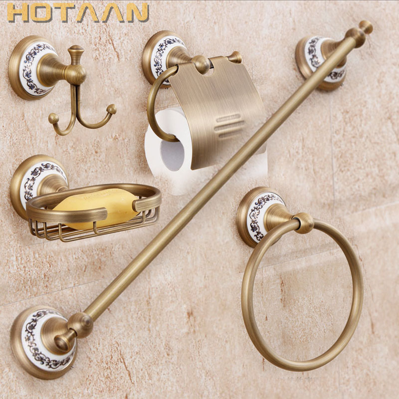 Free shipping,solid brass Bathroom Accessories Set,Robe hook,Paper Holder,Towel Bar,Soap basket,bathroom sets,YT-11500-5 free shipping solid brass bathroom accessories set robe hook paper holder towel bar soap basket bathroom sets yt 10600 5