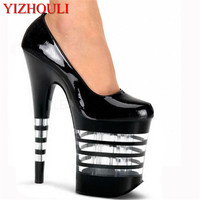 platform sexy 20cm ultra high heels pump shoes closed toe 8 inch high heeled shoes sexy clear sole dress shoes