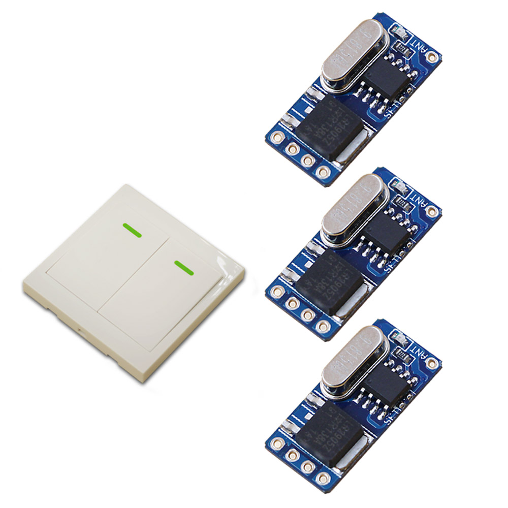 Wireless Remote Switch DC3.5v 3.7v 5v 6v 7.4v 8.4v 9v 12v RF Remote Control Switch Micro Relay 3 Receivers + 1 Transmitter