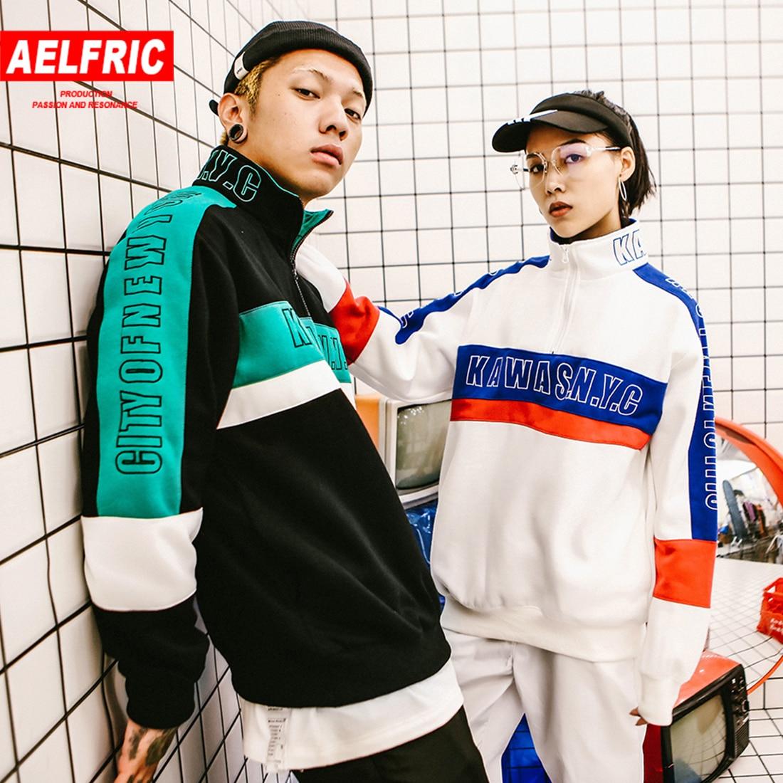 Aelfric Hip Hop à capuche col roulé Patchwork Sweatshirts femmes survêtement couleur bloc demi fermeture éclair broderie polaire pull KJ328