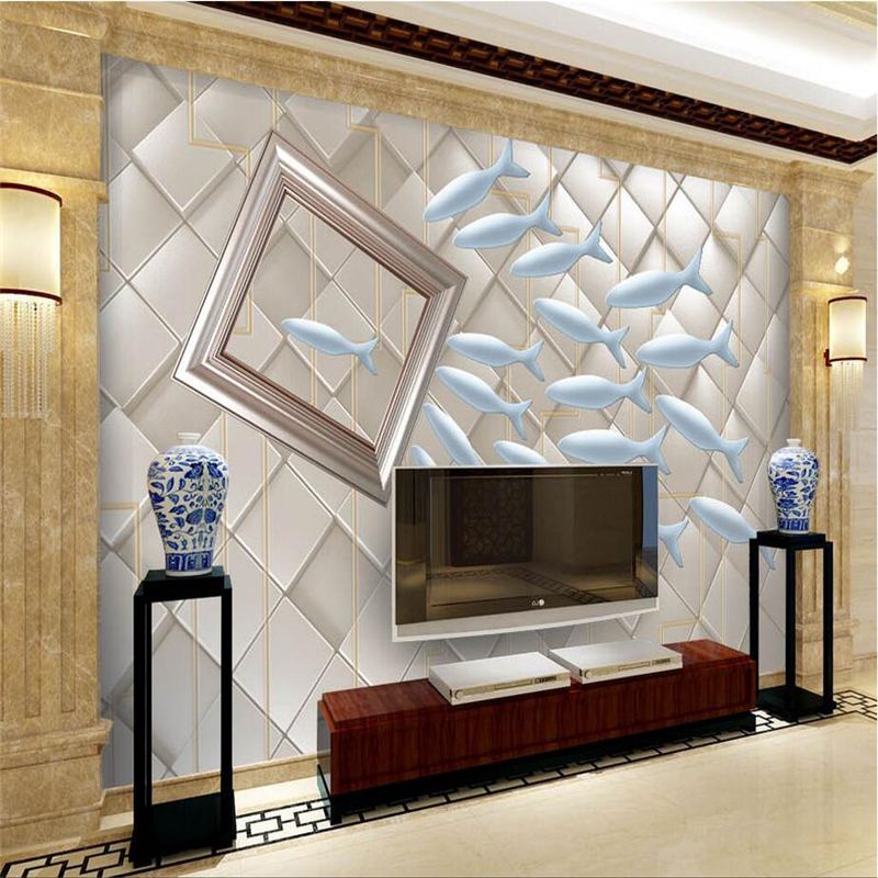 Custom 3d Photo Wall Paper Fish Large Wall Murals Environment Friendly Embossed Non-Woven TV Background Living Room Kitchen shinehome black white cartoon car frames photo wallpaper 3d for kids room roll livingroom background murals rolls wall paper