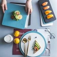 MUZITY Ceramic Plate Dish Round Pizza Plate Creative Square Dinner Dishes Rectangle Sushi Dish 10/11/11.5inch