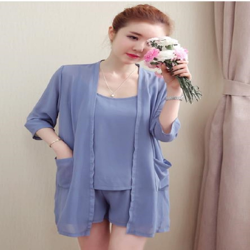 maternity suits summer Pregnant women three-piece suit abdominal shorts+strap tops+half sleeve outer sun shirts sets