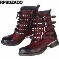 Ankle Chunky Brand Size 41 Flat Metal Women Punk Rock Boots Stud Rivet Wine Red Genuine Leather Shoes Spike Sheepskin Fashion