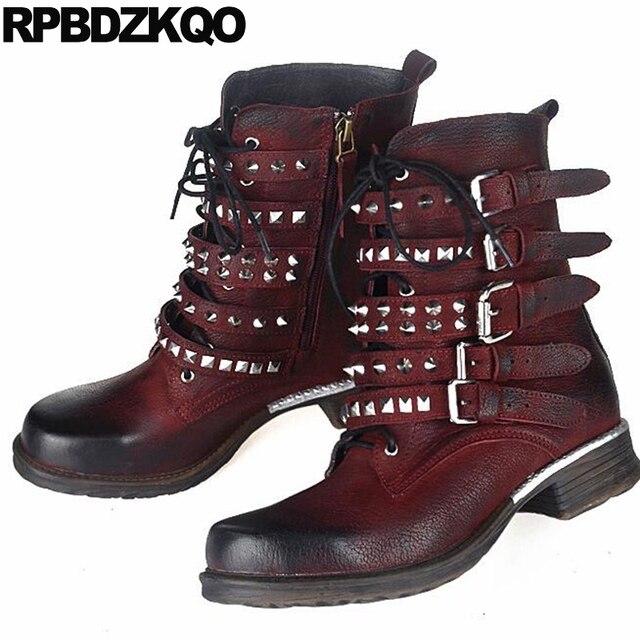 Chaussures femmes bottes rivet laçage Bleu foncé 41 CMhy423S