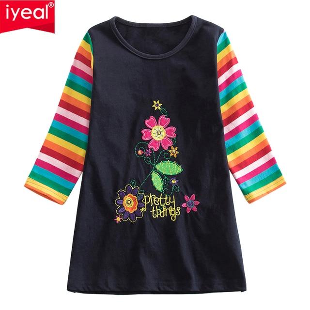 Iyeal Girls Dress 2018 Brand Princess Dress Autumn Style Long Sleeve