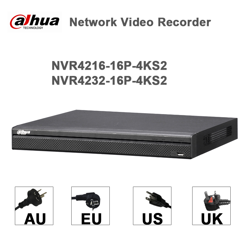 Dahua NVR4208-8P-4KS2 NVR4216-16P-4KS2 With PoE Port 4K Resolution H.265 for IP Camera S ...