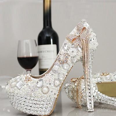 Women Pumps Luxury Crystal Shoes Wedding Shoes Bridal Shoes Pearl Diamond Handmade White Female High Heels