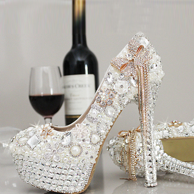 New crystal shoes wedding shoes bridal shoes pearl inlaid diamond handmade white female high water table tassels bow knot