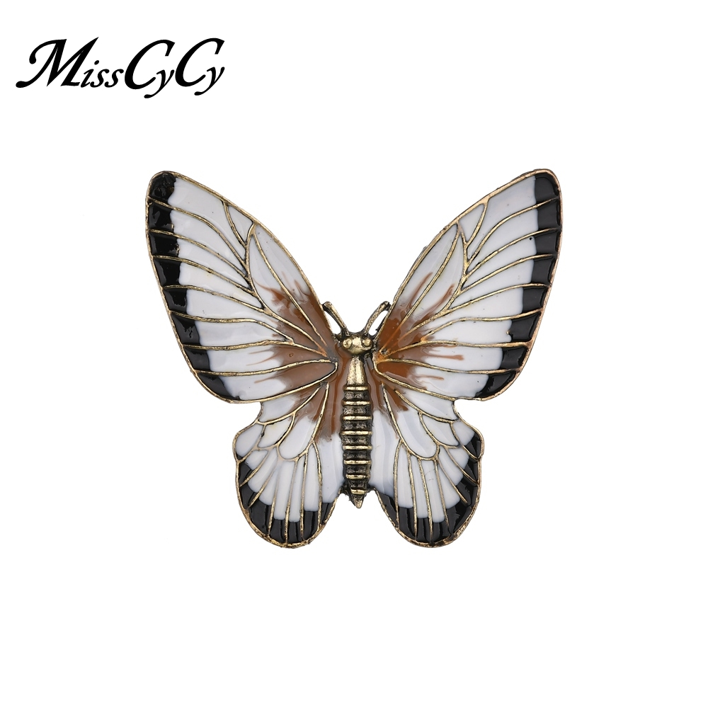 MissCyCy Vintage Big Butterfly Brooches For Women Fashion Enamel Pin Badge Insect Brooch 2018 New Accessories