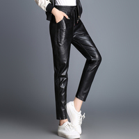 Autumn winter new style leather leather pants female casual pants sheepskin was thin straight leg feet wear nine points
