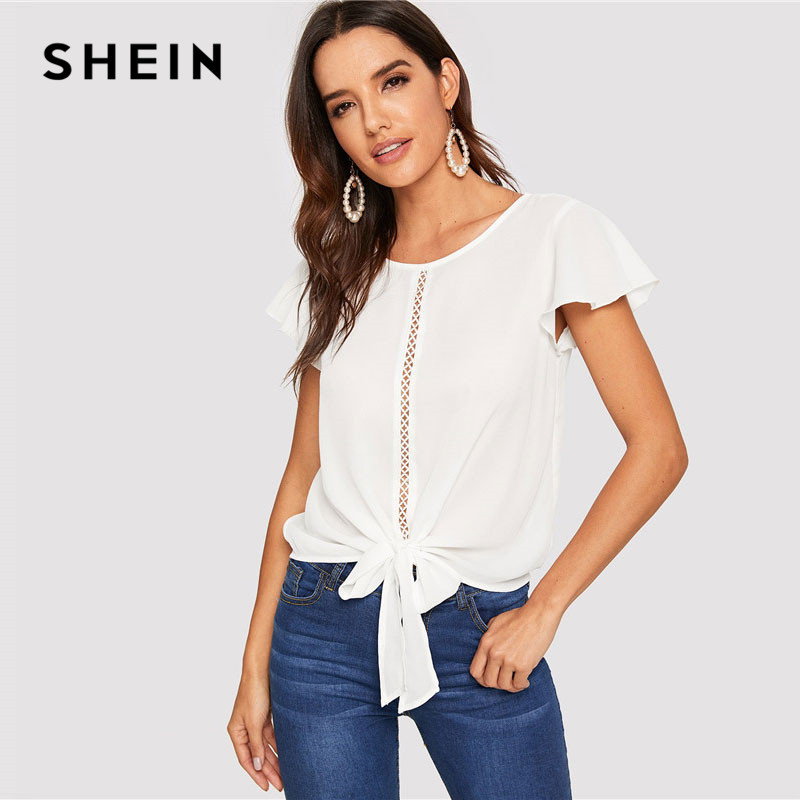 SHEIN Flutter Sleeve Lace Insert Knot Front Women Tops And Blouses 2019 Summer Casual Solid Hollow Out Tops White Blouse
