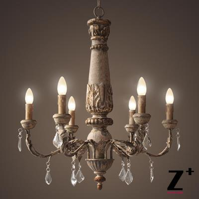 America Style Rh Vintage Country Wood Made Work Re Crystal Chandelier Lamp Woodern E14 X 6 Lights Led Free Shipping In Chandeliers From