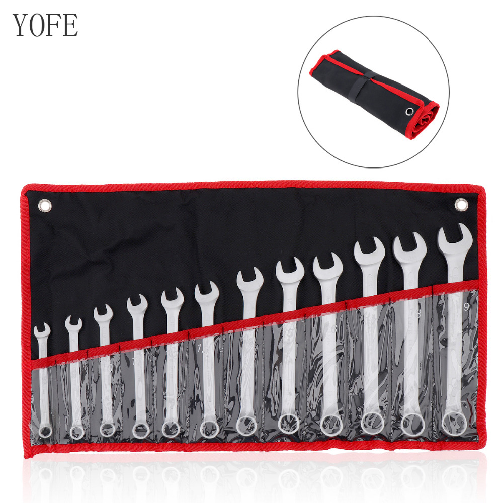 12pcs/lot YOFE 8mm-19mm Combination Spanner Set Professional Ratchet Wrench Tool For Installation /Maintenance