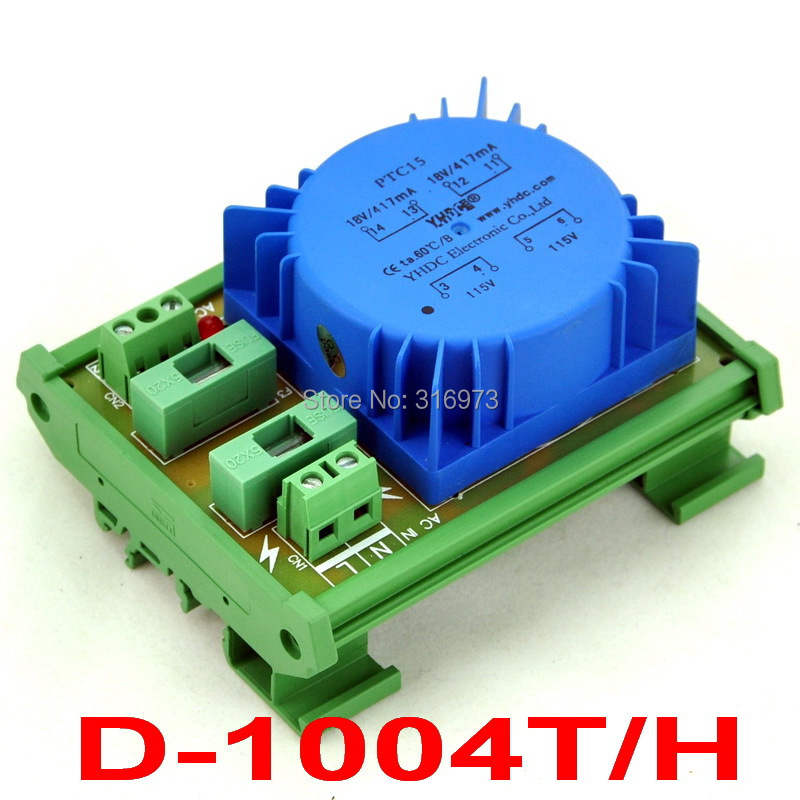 P 230VAC, S 18VAC, 15VA DIN Rail Mount Toroidal Power Transformer Module.