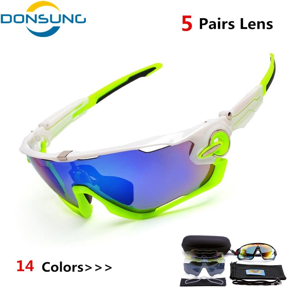 DONSUNG Mens Polarized Cycling Glasses 5 Lens UV400 TR90 Sports Bicycle Sun Glasses MTB Mountain Bike Sunglasses Cycling Eyewear