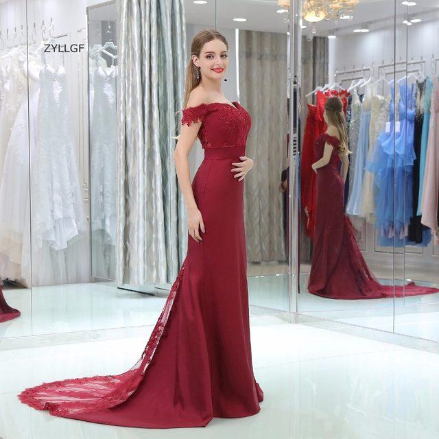 Online Shop ZYLLGF Burgundy Bridesmaid Dresses Mermaid Off Shoulder ...