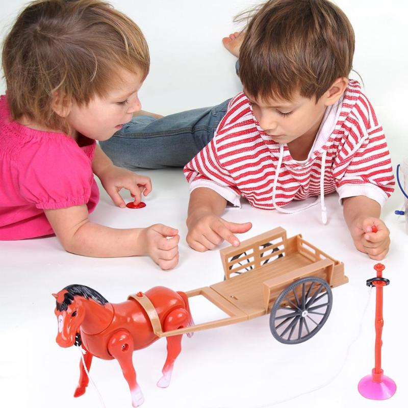 New Electronic Toys Novelty Toys Small Horse Drawn Cart Children Toy Electric Walking Horse Horse Drawn Car Turning Toys